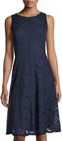 Neiman Marcus Chevron Seam Sleeveless Dress, Navy