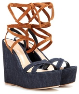 Gianvito Rossi Fabric And Suede Wedge Sandals