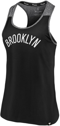Möve Women's Fanatics Branded Black/Heathered Black Brooklyn Nets Made to Static Performance Racerback Tank Top