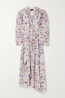 Isabel Marant Blainea Pleated Printed Silk-blend Crepe De Chine Maxi Dress - Pink