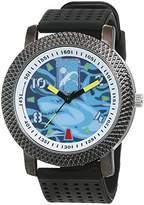 Trias Men's Quartz Watch with Black Dial Analogue Display Quartz Rubber Door 40