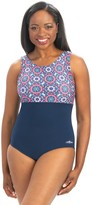 Dolfin Aquashape Color Block Mosaic High Clasp One-Piece Swimsuit