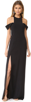 Halston Cold Shoulder Round Neck Gown