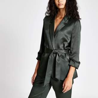 River Island Womens Khaki belted ruched sleeve blazer