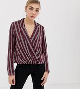 Miss Selfridge stripe blouse with deep v-neck in burgundy