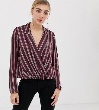 Miss Selfridge stripe blouse with deep v-neck in burgundy-Red