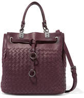 Bottega Veneta Intrecciato Leather Shoulder Bag - Burgundy