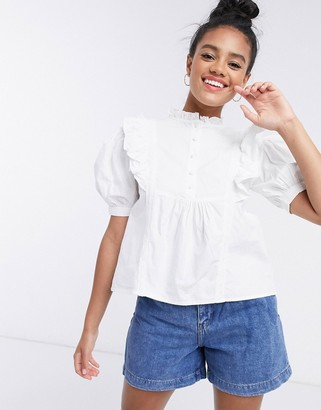 Influence puff sleeve frilled blouse