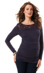 A Pea in the Pod Long Sleeve Boat Neck Side Ruched Maternity T Shirt