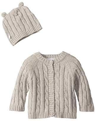 Elegant Baby Cable Cardigan and Hat Boxed Set (Infant) (Grey) Kid's Clothing