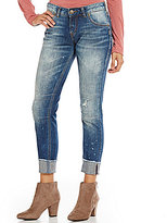 Silver Jeans Co. Cuffed Girlfriend Distressed Stretch Denim Ankle Jeans