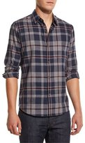 Theory Rammis Light Flannel Plaid Shirt, Eclipse Multi