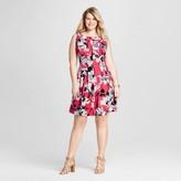 Melonie T Women's Plus Size Floral Keyhole Scuba Dress Red