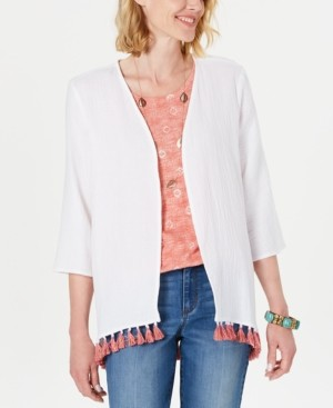 Style&Co. Style & Co Cotton Tassel-Trim Kimono Top, Created for Macy's