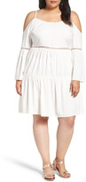 Glamorous Lace Inset Cold Shoulder Dress (Plus Size)