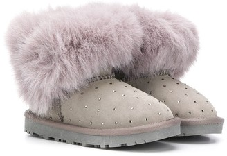 MonnaLisa Embellished Faux-Fur Boots