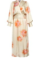 Smythe Tie Dye Long Sleeve Satin Wrap Dress