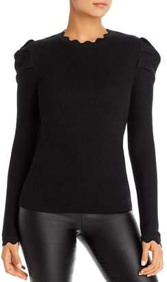 Elie Tahari Chiara Scalloped Puff-Sleeve Sweater