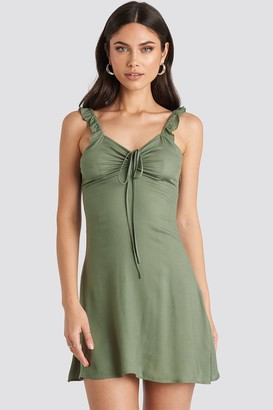 NA-KD Nicole Mazzocato X Frill Strap Mini Dress Green