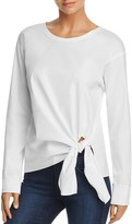 Theory Serah Stretch Cotton Tie-Front Top