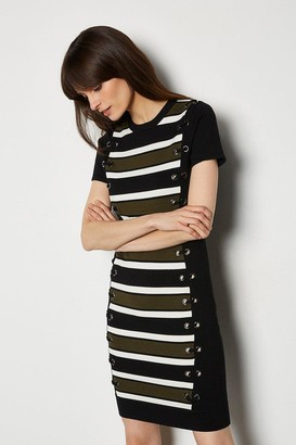 Karen Millen Lace Up Detail Stripe Knit Dress