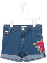 Junior Gaultier floral embroidered denim shorts - kids - Cotton/Spandex/Elastane - 4 yrs