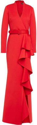 Badgley Mischka Belted Ruffled Scuba Gown