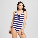 Mossimo Women's Lace Up One Piece Swim Suit - Blue Velvet/White - XS