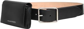 Alexander McQueen 4cm Leather Belt W/ Wallet