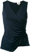 Armani Collezioni ruched V-neck top - women - Spandex/Elastane/viscose - 40