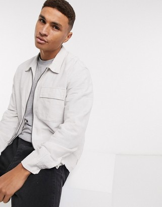 Jack and Jones Core linen mix zip front shirt in white