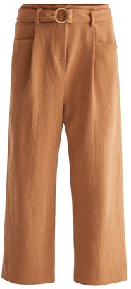 Paisie Jersey Wide Leg Trousers With Front Pleats & O-Ring Belt In Camel