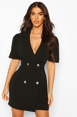 boohoo Puff Sleeve Diamonte Button Blazer Dress