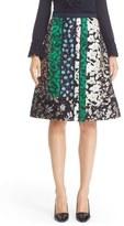 Oscar de la Renta Women's Satin & Jacquard Patchwork Skirt