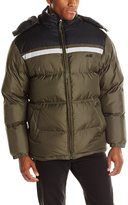 Avia Men's Colorblock Chest Stripe Puffer Jacket with Removable Hood