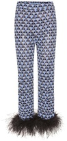 Prada Printed Feather-trimmed Trousers