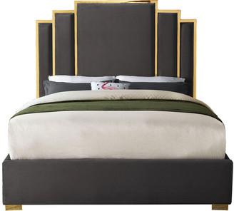 Meridian Furniture Hugo Gray Velvet King Bed, Gray