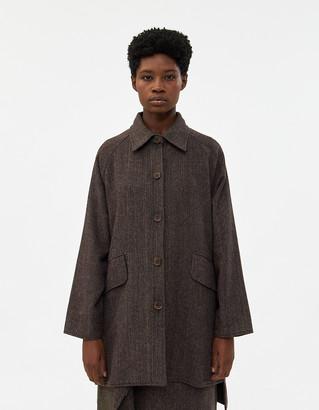Hidden Forest Market Women's Raglan Harringbone Coat in Brown, Size Small | Wool