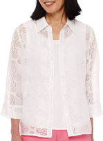 Alfred Dunner Acapulco 3/4-Sleeve Burnout Layered Shirt