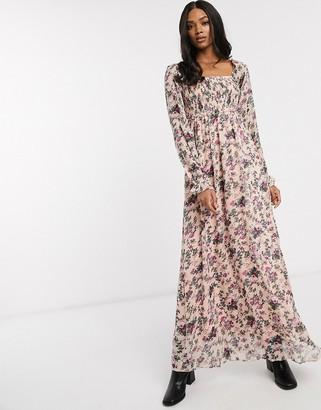 Vila square neck maxi dress in floral