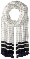 MICHAEL Michael Kors Windowpane Printed Oblong with Tassels Scarves