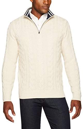 Nautica Men's Long Sleeve Snowy Cotton Cable & Rib Button Mockneck Sweater, White Heather