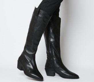 Office Kountry Casual Western Knee Boots Black Leather