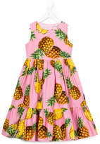 Dolce & Gabbana pineapple print dress - kids - Cotton/Viscose - 10 yrs