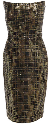 Mason by Michelle Mason Strapless Sequined Mesh Dress