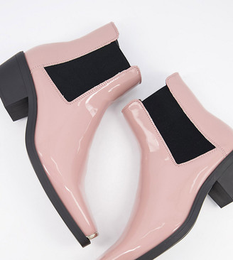 ASOS DESIGN Wide Fit cuban heel western chelsea boots in pink patent with metal hardware
