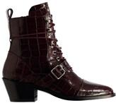 AllSaints Berry Croc Katy Ankle Boot