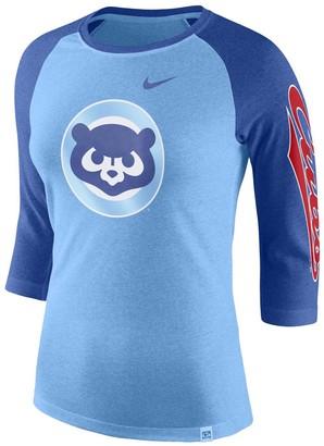 Nike Women's Royal Chicago Cubs Vintage Logo Tri-Blend 3/4-Sleeve Raglan T-Shirt