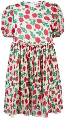 Ganni Floral-Print Puff-Sleeve Pleated Dress