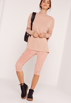 Missguided Faux Suede Cropped Leggings Pink